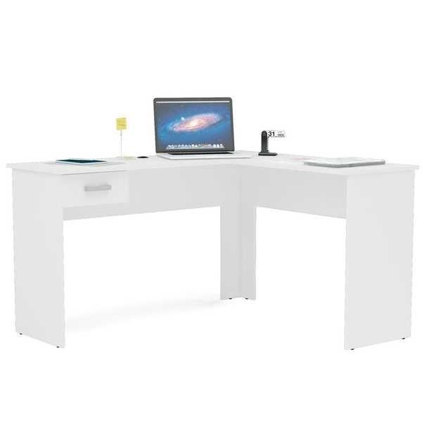 Mesa Escrivaninha Fênix com 1 Gaveta Branca 75,5x119x45cm 1 UN Politorno