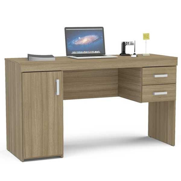 Mesa Escrivaninha Miranda com 2 Gavetas Castanho 75,5x135x46,5cm 1 UN Politorno