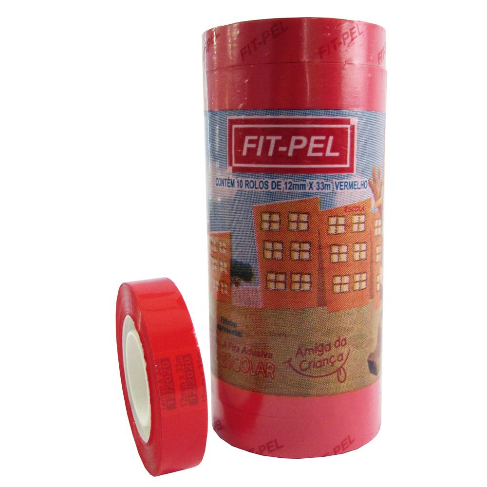 Fita Adesiva Vermelha 12mm x 33m 1 UN Fit Pel