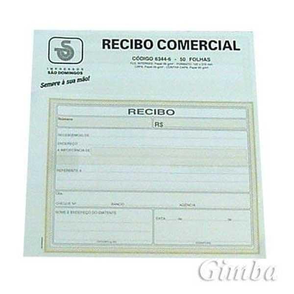 Bloco Recibo Comercial sem Cópia 50 FL 6344-6 São Domingos