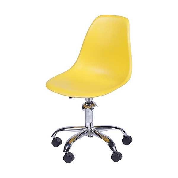 Cadeira Giratória Eames em Polipropileno Base Cromada Amarela OR Design