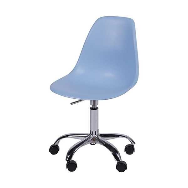 Cadeira Giratória Eames em Polipropileno Base Cromada Azul OR Design