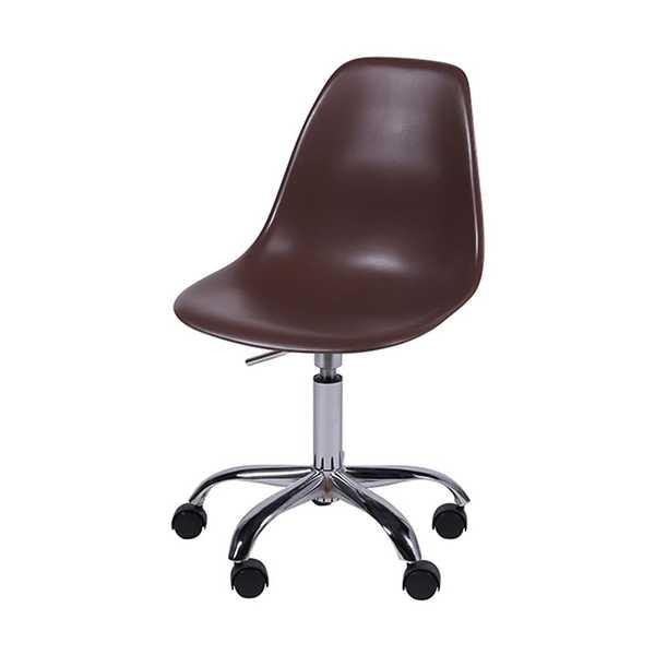 Cadeira Giratória Eames em Polipropileno Base Cromada Café OR Design