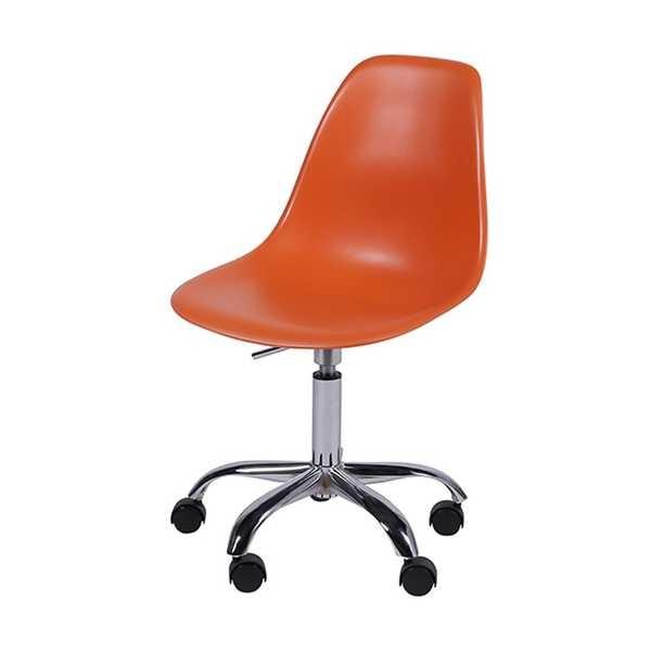 Cadeira Giratória Eames em Polipropileno Base Cromada Laranja OR Design