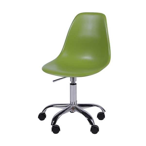 Cadeira Giratória Eames em Polipropileno Base Cromada Verde OR Design