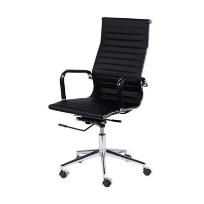 Cadeira Giratória Charles Eames em PU Alta Preta OR Design