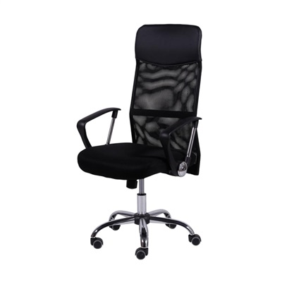 Cadeira Giratória Couro Ecológico Aço Carbono Cromado em PU e Tela Mesh Preta 1 UN OR Design