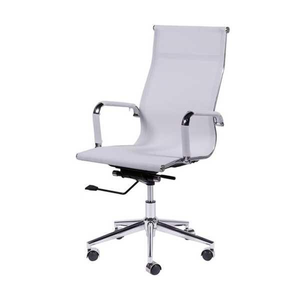 Cadeira Giratória Charles Eames em Tela Mesh Alta Branca OR Design