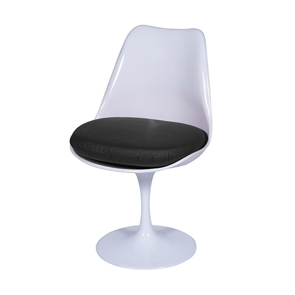 Cadeira Giratória Saarinen Base Fixa sem braço Branca e Preta OR Design