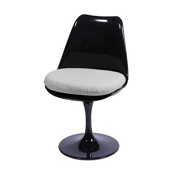 Cadeira Giratória Saarinen Base Fixa sem braço Preta e Branca OR Design