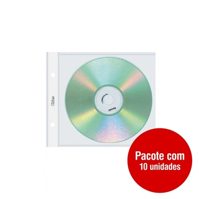 Refil Capa para CD e DVD Individual 2 Furos 1700-5 PT 10 UN Chies
