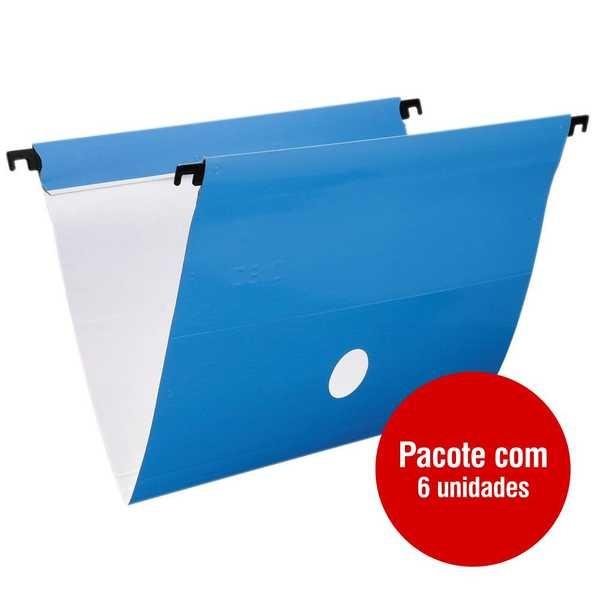 Pasta Suspensa DelloPlus Triplex Plastificada 360x240mm Azul PT 6 UN Dello