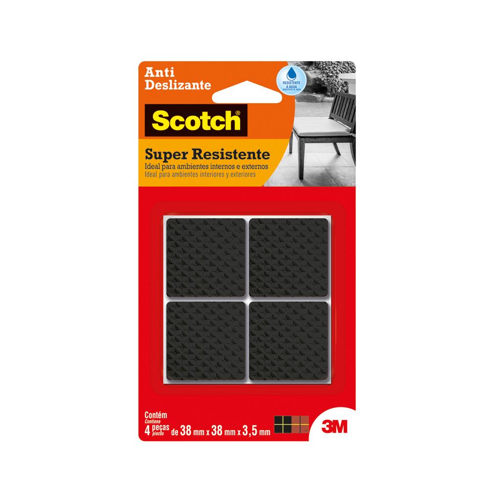 Protetor Adesivo Anti Deslizante Scotch Quadrado Preto Grande PT 4 UN 3M