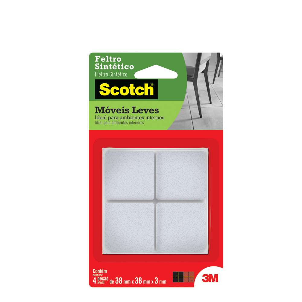 Protetor Adesivo Feltro Sintético Scotch Quadrado Branco PT 4 UN 3M