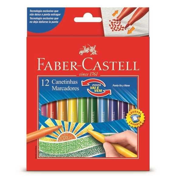 Caneta Hidrográfica Colorir Vai e Vem 12 Cores Faber Castell
