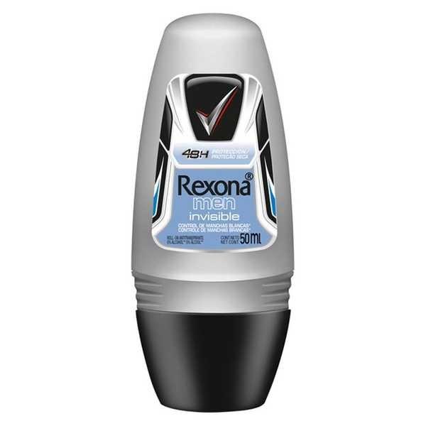 Desodorante Roll-on Masculino Invisible 50ml 1 UN Rexona