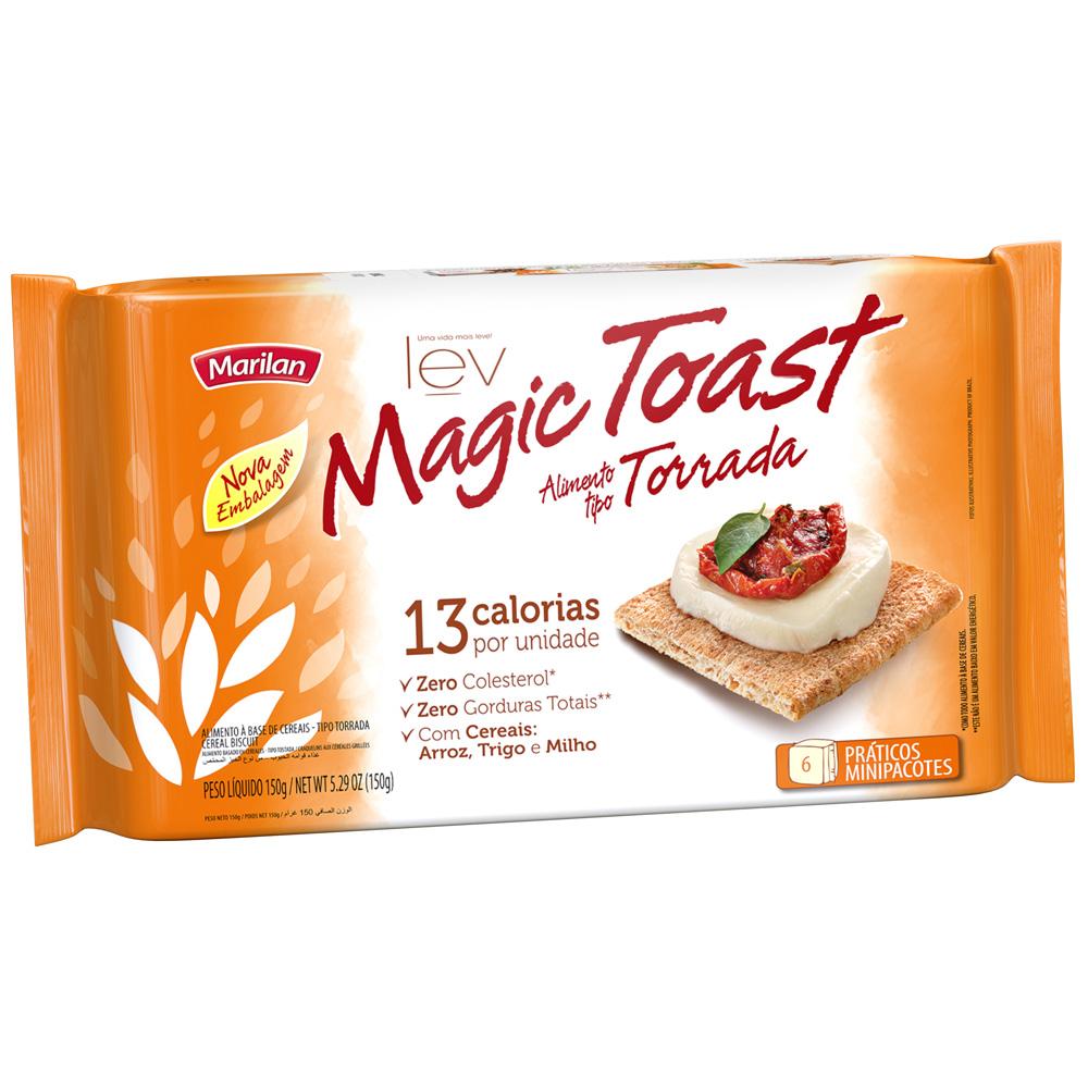 Torrada Magic Toast Integral 150g PT 6 UN 25g cada Marilan