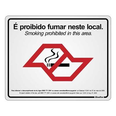 Placa de Alumínio É Proibido Fumar Neste Local Sinalize