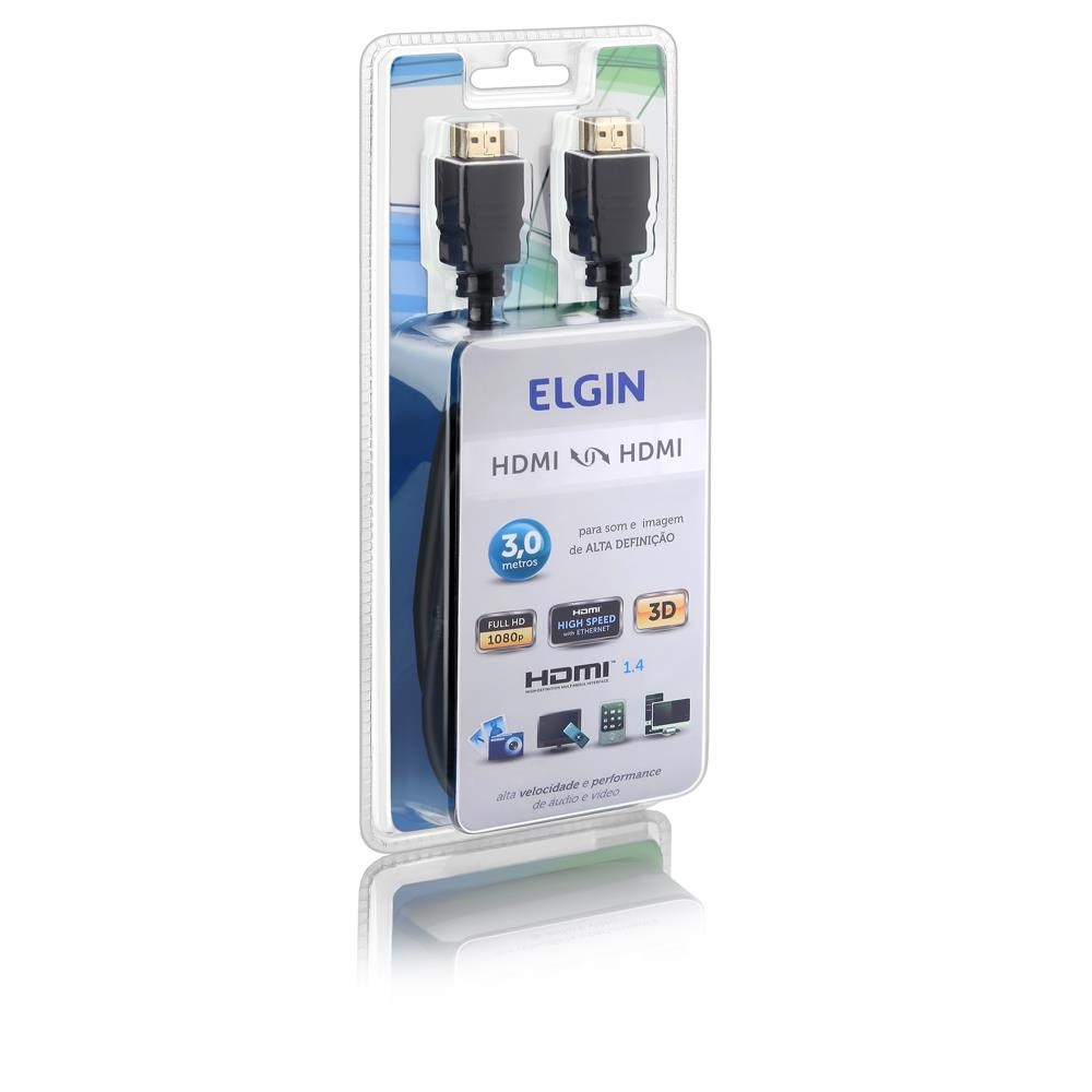 Cabo HDMI 1.4 Full HD 1080p 3m Preto 46RCHDMI03MT 1 UN Elgin