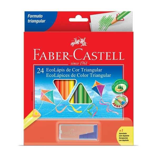 Lápis de Cor Triangular 24 Cores e Apontador Faber Castell