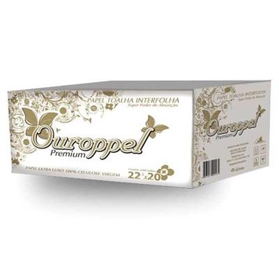 Papel Toalha Interfolha 2 Dobras 22,5x20cm CX com 2000 folhas Ouroppel