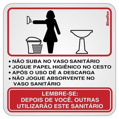Placa de Alumínio Procedimentos para Sanitário Feminino Sinalize