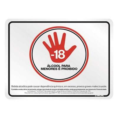Placa de Alumínio Proibido Venda de Álcool para Menores Sinalize