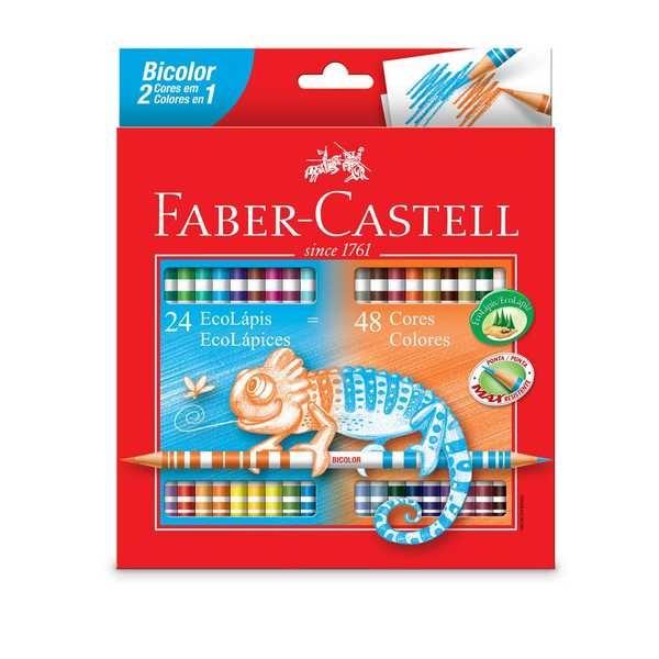 Lápis de Cor Redondo Bicolor 48 Cores Faber Castell