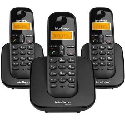 Telefone sem Fio mais 2 Ramais com Identificador de Chamadas até 7 Ramais Eco Mode TS 3113 Intelbras