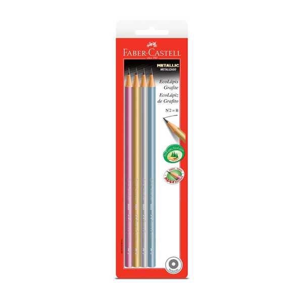 Lápis Preto B N.2 Metallic Redondo 4 UN Faber Castell