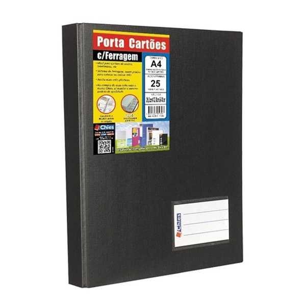 Porta Cartão Jumbo 25 Refis para 500 Cartões e Index A-Z Preto 1328 1 UN Chies