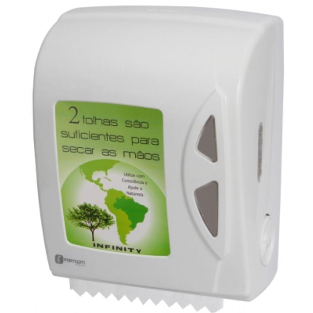 Dispenser Papel Toalha Bobina Auto Corte Branco 1 UN Fortcom