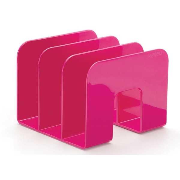 Organizador de Livros Standard 3 Divisórias Rosa 16x21.5x20.5cm 1 UN Waleu