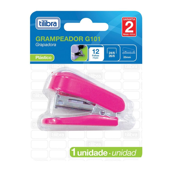 Mini Grampeador Rosa 26/6 até 12 Folhas 243485 1 UN Tilibra