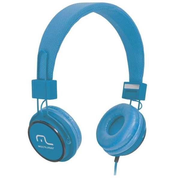 Headphone Fun com Microfone Haste Ajustável Azul PH089 1 UN Multilaser
