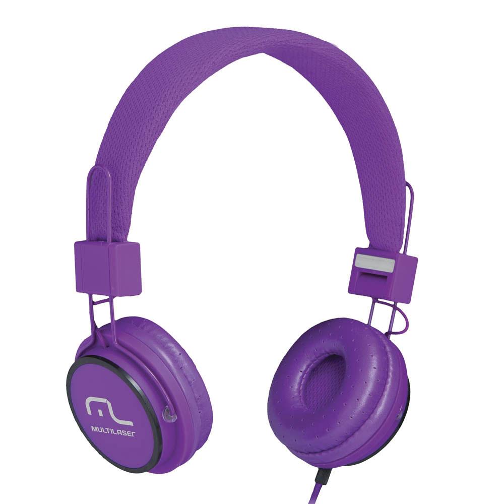 Headphone Fun com Microfone Haste Ajustável Roxo PH090 1 UN Multilaser