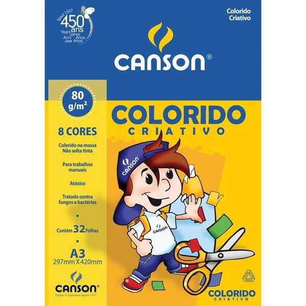 Bloco Colorido Criativo A3 8 Cores 32 Folhas 1 UN Canson