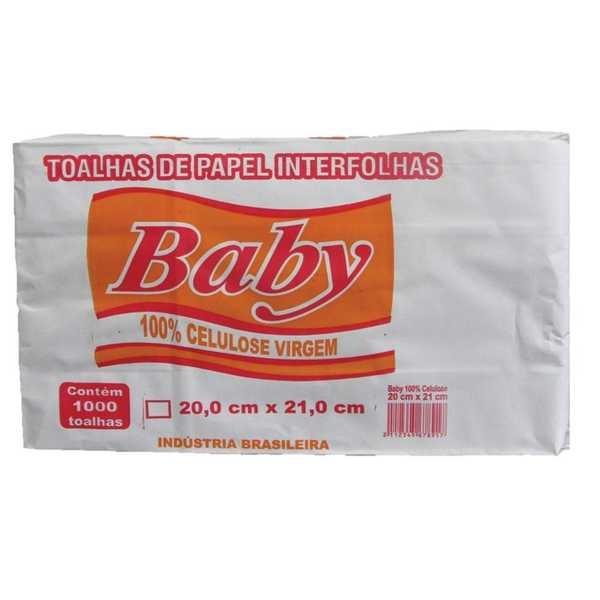 Papel Toalha Interfolha 2 Dobras 20x21cm PT 1000 FL Baby