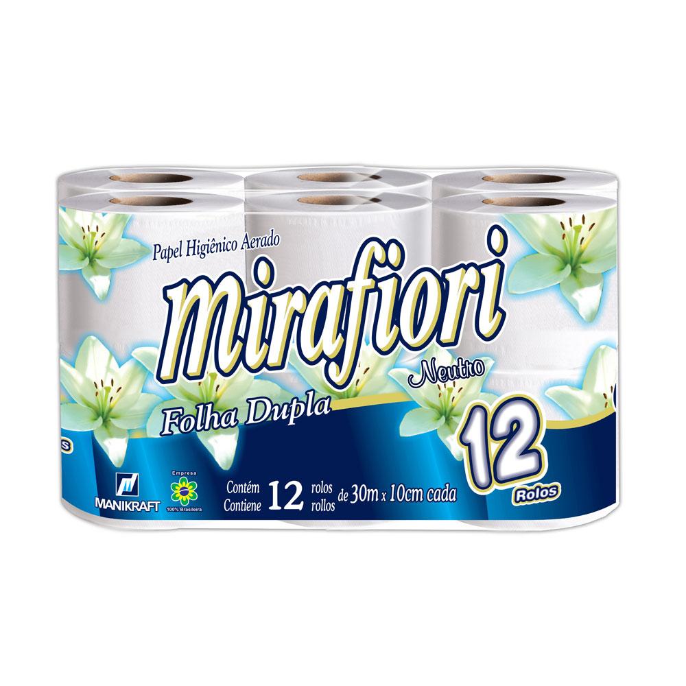 Papel Higiênico Folha Dupla 30m Neutro Branco  PT 12 RL Mirafiori