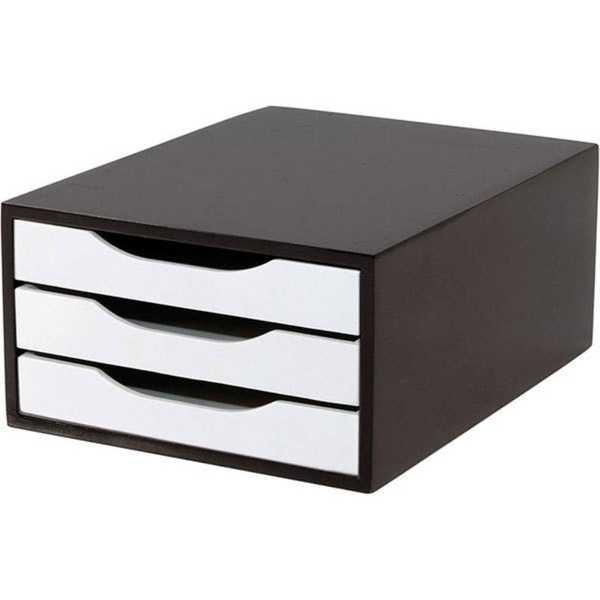 Gaveteiro em MDF com 3 Gavetas Black Piano e Branco 36x27x15cm Souza