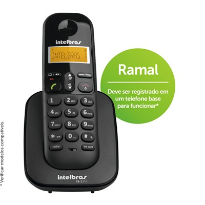 Telefone Ramal sem Fio Preto TS3111 Intelbras