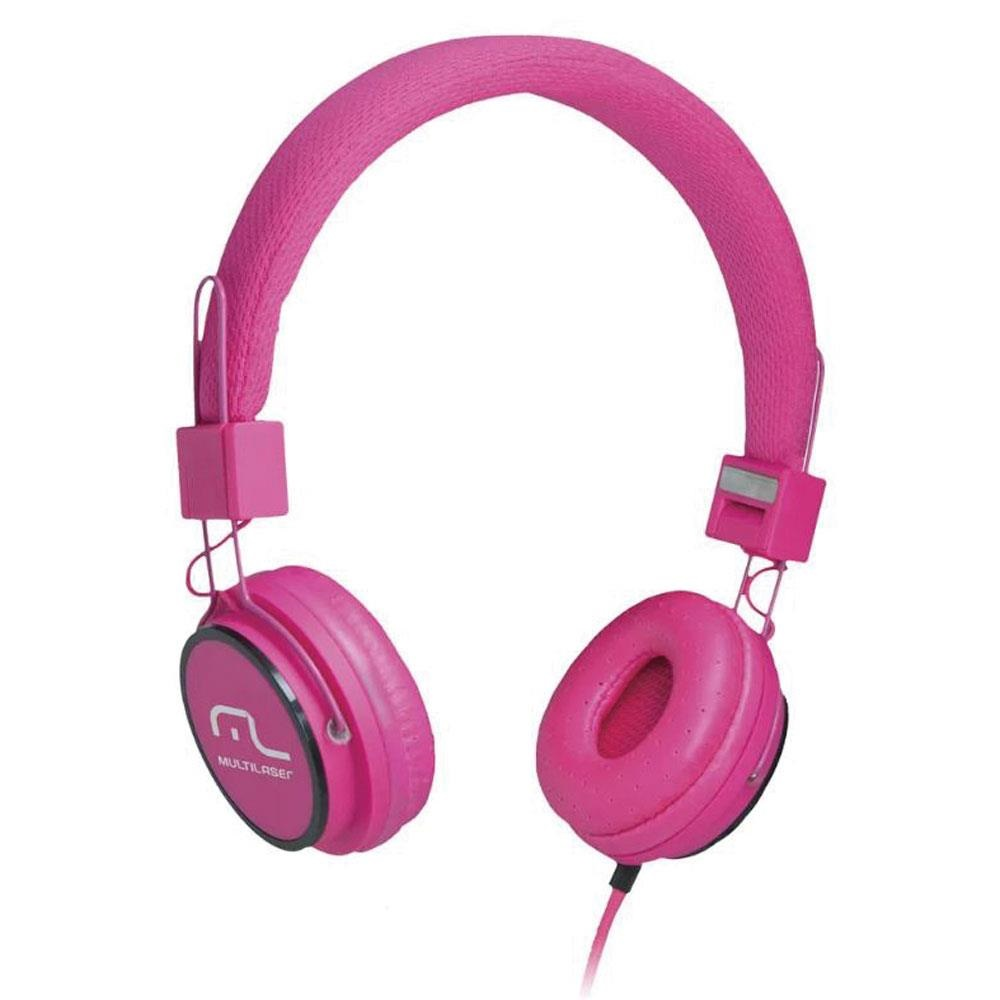 Headphone Fun com Microfone Haste Ajustável Rosa PH088 1 UN Multilaser