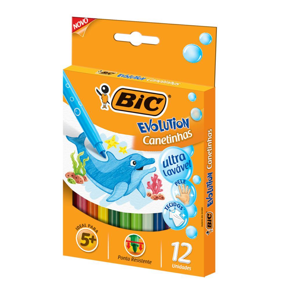 Caneta Hidrográfica Colorir Evolution 12 Cores Bic