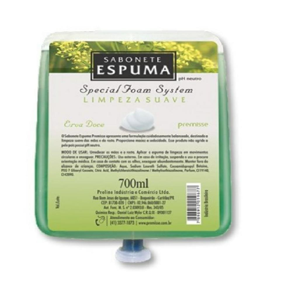 Sabonete Espuma Limpeza Suave Erva Doce 700ml 1 UN Premisse