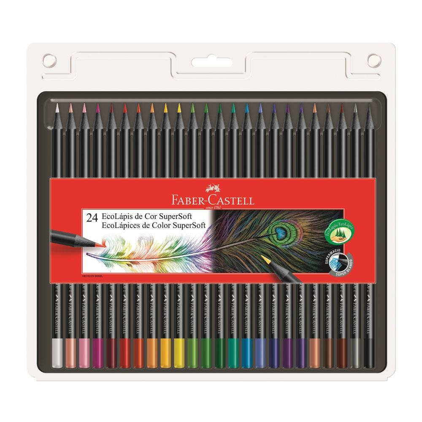 Lápis de Cor Redondo Eco Lápis Super Soft 24 Cores Faber Castell
