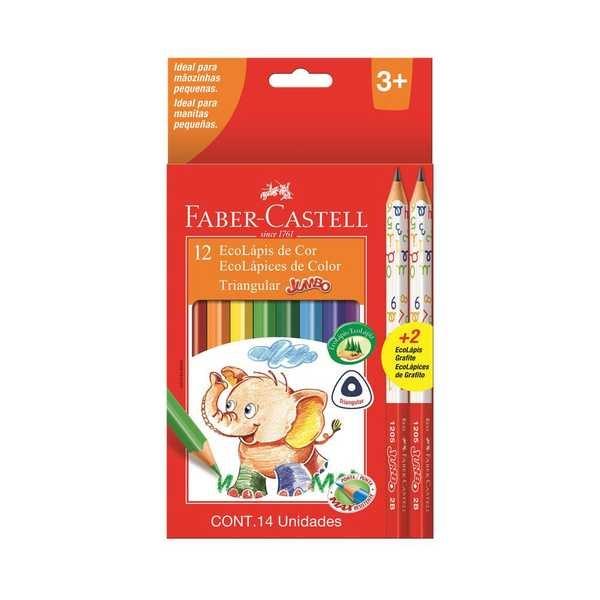 Lápis de Cor Triangular Jumbo 12 Cores Faber e 2 Lápis Preto Faber Castell