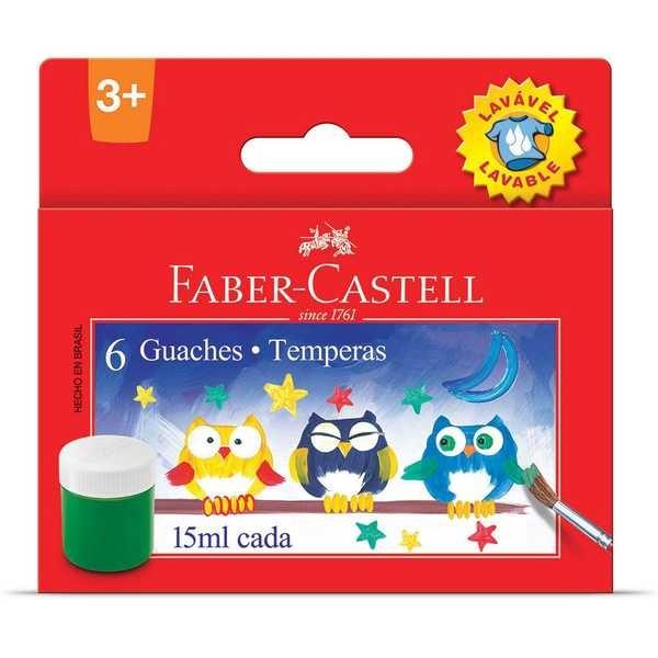 Tinta Guache Lavável 6 Cores 15ml Faber Castell