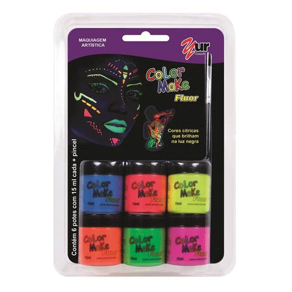 Tinta Facial Color Make Fluorescente 6 Cores com Pincel Yur