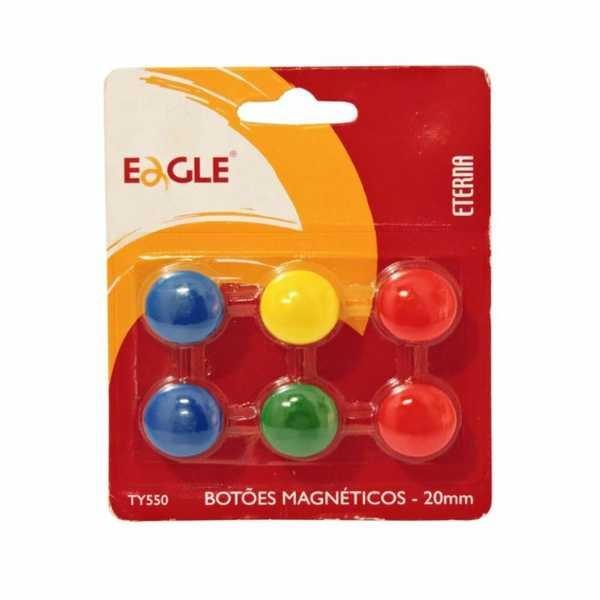 Imã Redondo Cores Sortidas 2cm TY550 6 UN Eagle