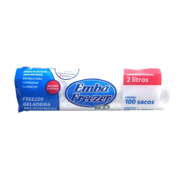 Saco Plástico Embafreezer 2L 20x35cm PT 100 UN Embalixo